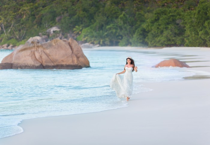 Bride on Seychelles beach