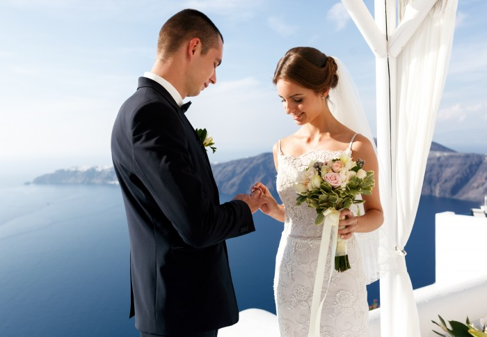 Couple getting married in Santorini