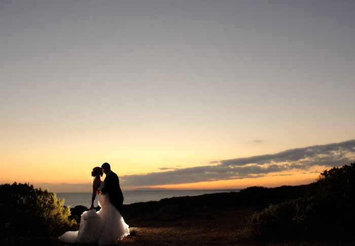 Bride and groom sunset backdrop